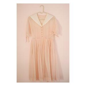 Vintage Pink Sheer Swiss Dot Dress